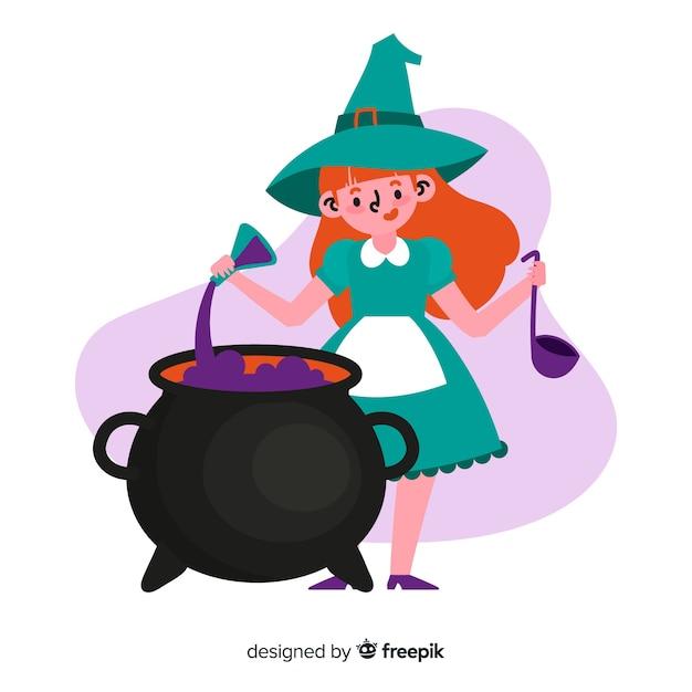 Illustrazione sveglia della strega di halloween Vettore gratuito