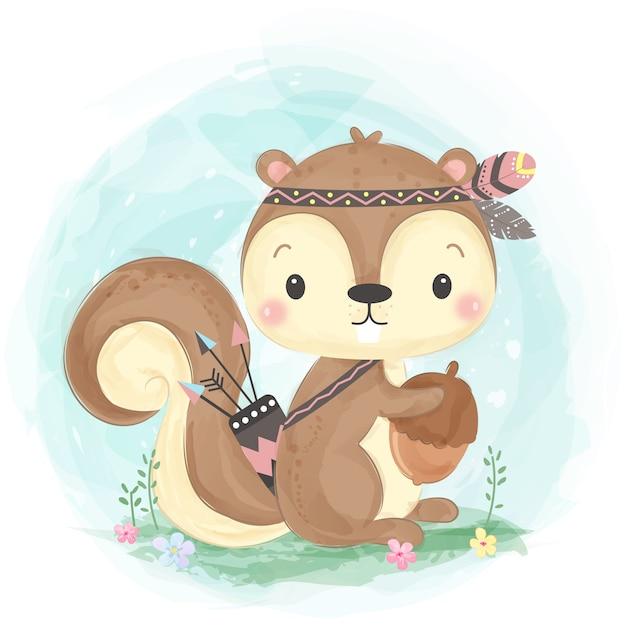 Illustrazione sveglia dello scoiattolo di boho Vettore Premium