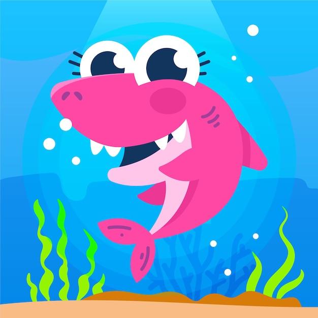 Illustrazione sveglia dello squalo rosa del bambino Vettore gratuito