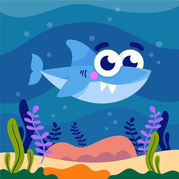 Illustrazione sveglia di baby squalo Vettore gratuito