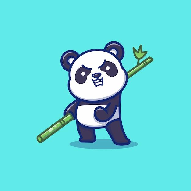 Illustrazione sveglia di panda angry holding bamboo cartoon vector icon. vettore premio isolato concetto animale dell'icona. stile cartone animato piatto Vettore Premium