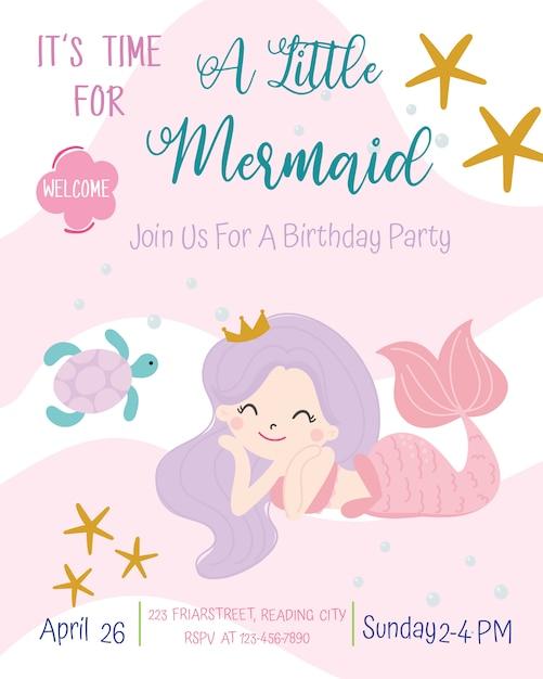 Illustrazione sveglia di vettore della carta dell'invito della festa di compleanno di tema della sirena. Vettore Premium