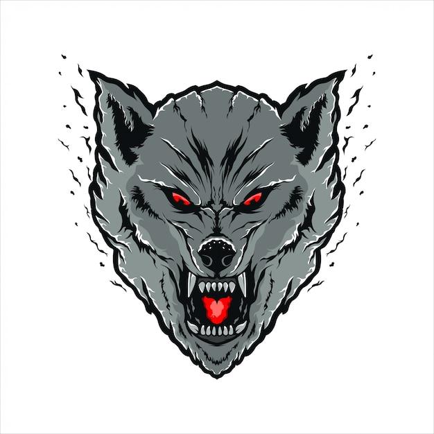 Illustrazione testa di lupo Vettore Premium