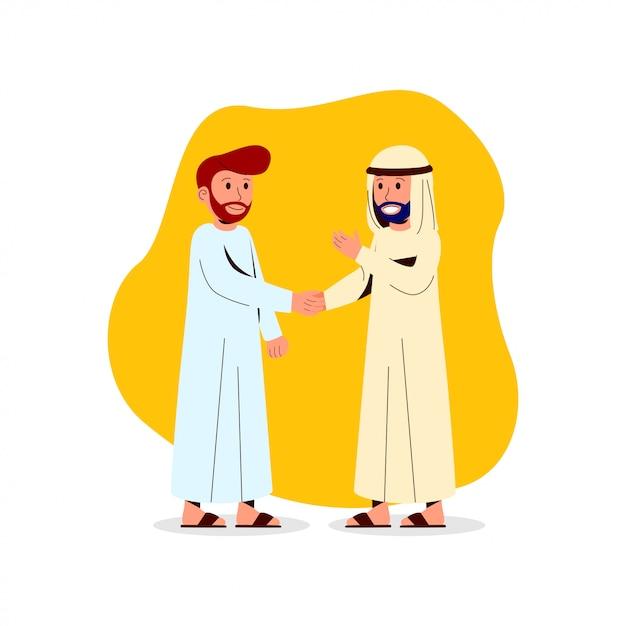 Illustrazione two arabian man shake hand Vettore Premium