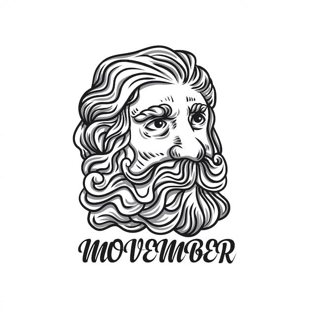 Illustrazione uomo movember Vettore Premium