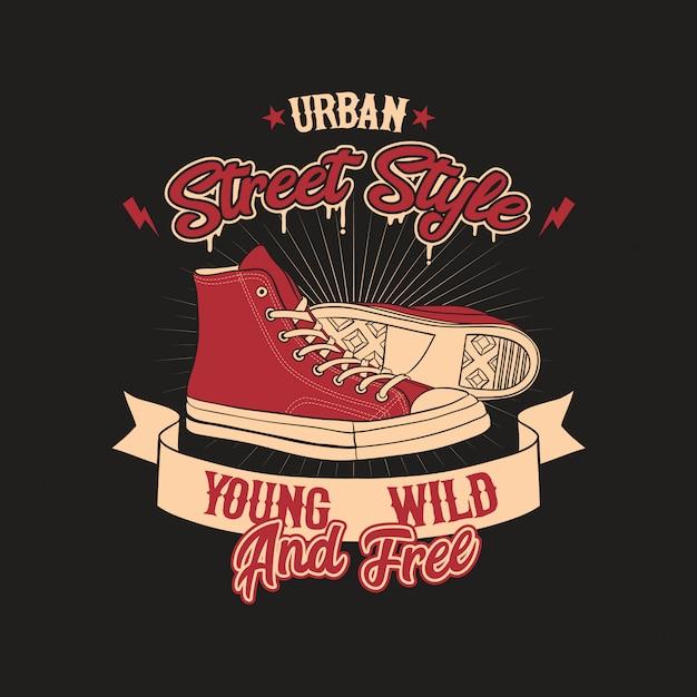 Illustrazione urbana del distintivo di stile delle scarpe Vettore Premium