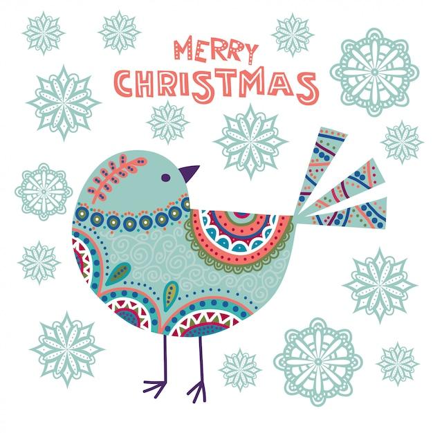 Illustrazione variopinta di natale di arte con il bei uccello e fiocchi di neve. Vettore Premium