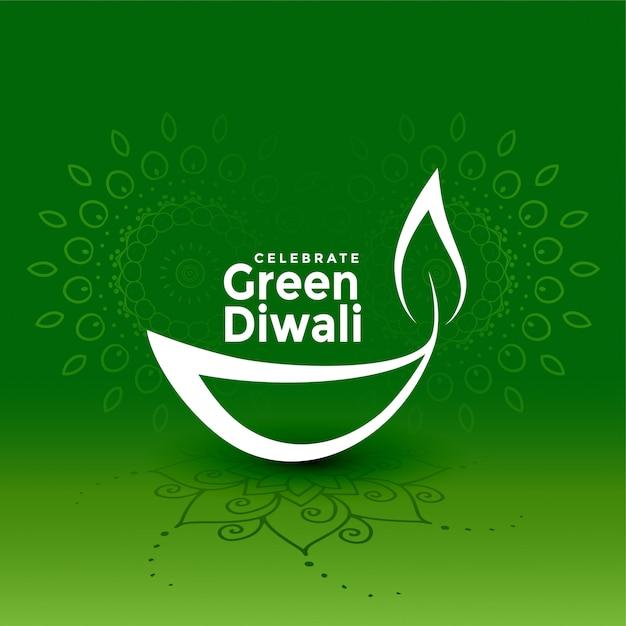 Illustrazione verde creativa di concetto di diya di diwali Vettore gratuito