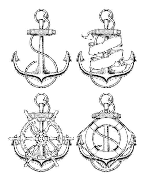 Illustrazione vettoriale ancoraggio nautico Vettore gratuito