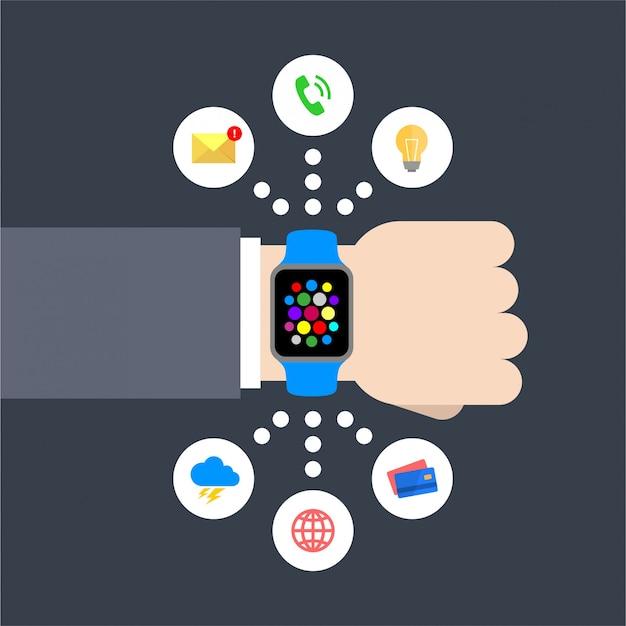 Illustrazione vettoriale astratto design piatto di una mano di uomo d'affari con un orologio intelligente con icone grafico infografica: messaggio, lampadina, telefonata, meteo, globale, carta di credito Vettore Premium