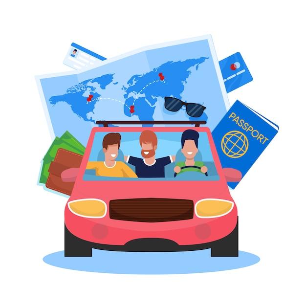 Illustrazione vettoriale car viaggio con gli amici cartoon. Vettore Premium