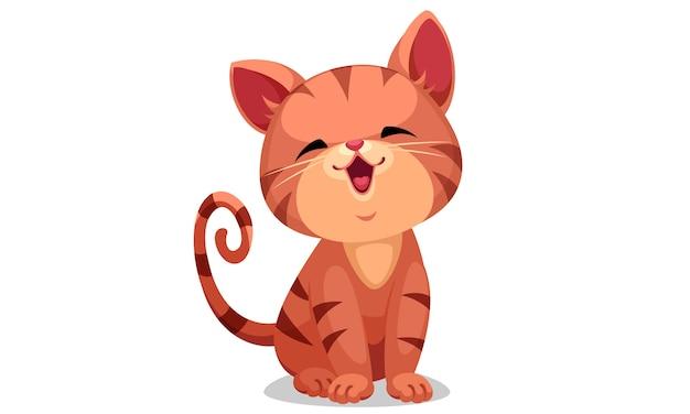 Illustrazione vettoriale carino piccolo gattino Vettore Premium