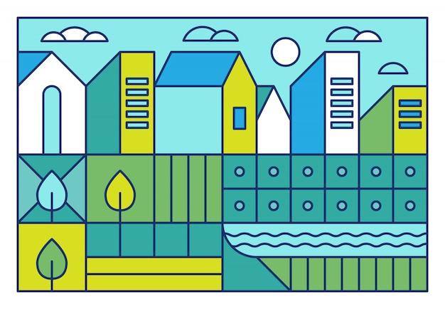 Illustrazione vettoriale con paesaggio della città in stile lineare alla moda Vettore Premium