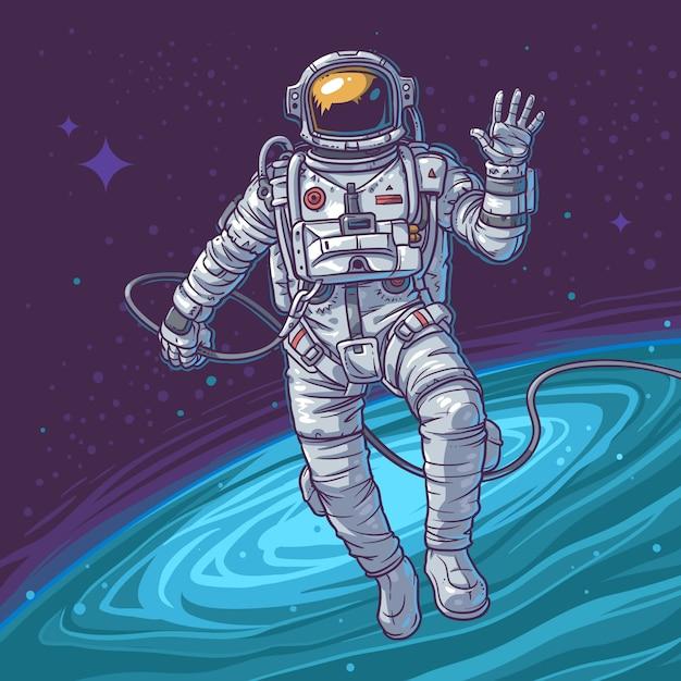 Illustrazione vettoriale cosmonauta Vettore gratuito