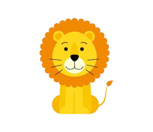 Illustrazione vettoriale del cartone animato carino leone Vettore Premium