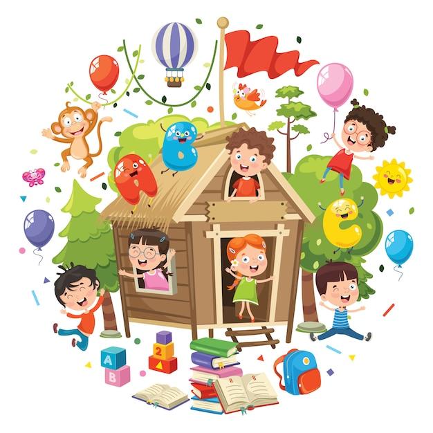 Illustrazione vettoriale del concetto di educazione dei bambini Vettore Premium