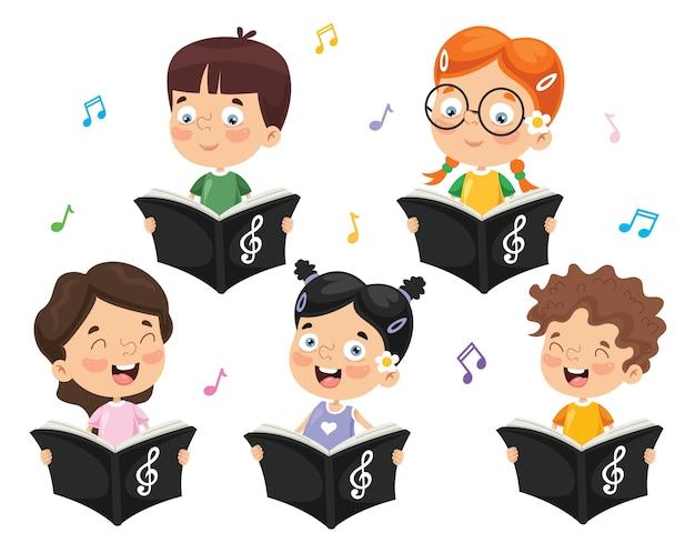 Illustrazione vettoriale del coro di bambini Vettore Premium