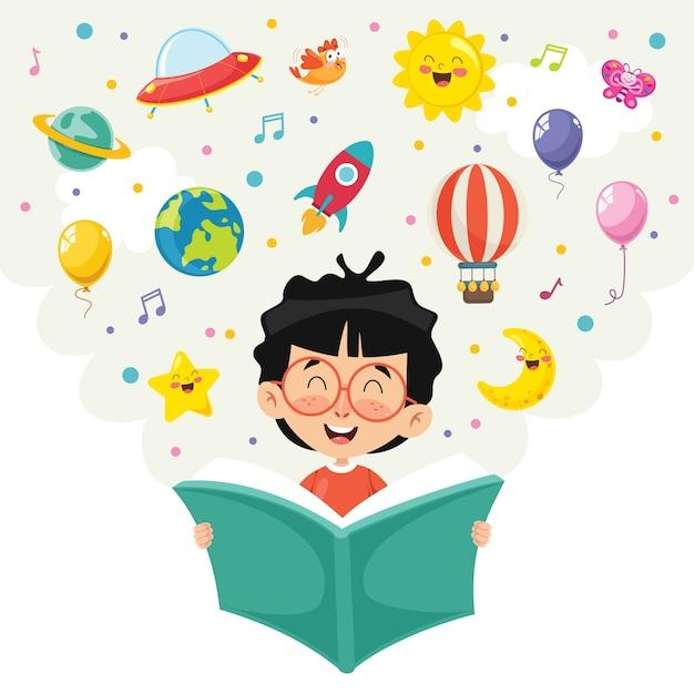 Illustrazione vettoriale del libro di lettura del bambino Vettore Premium