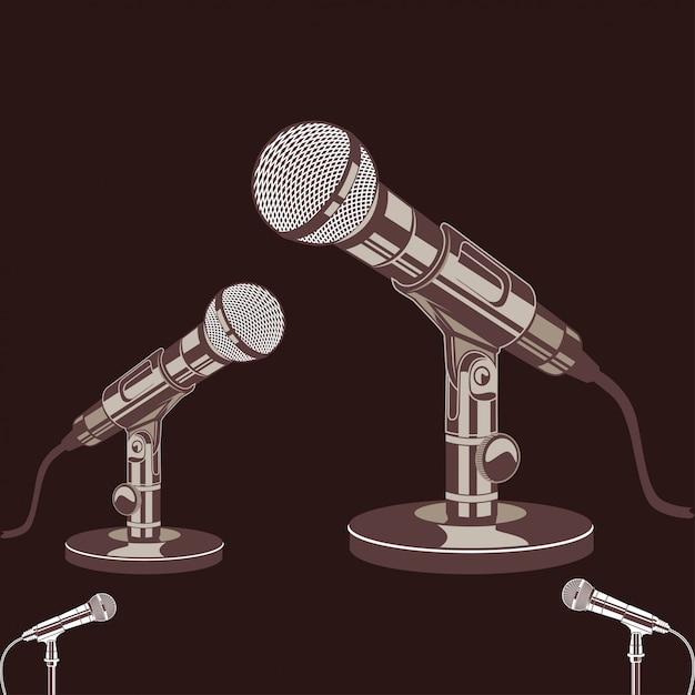Illustrazione vettoriale del microfono con stile vintage e retrò Vettore Premium