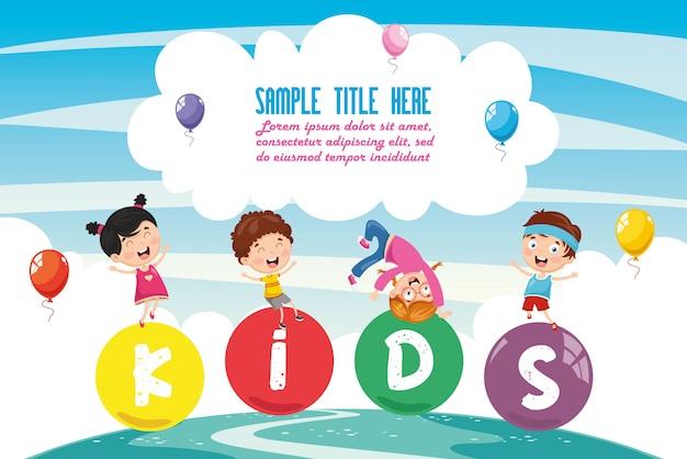 Illustrazione vettoriale del paesaggio colorato di bambini Vettore Premium