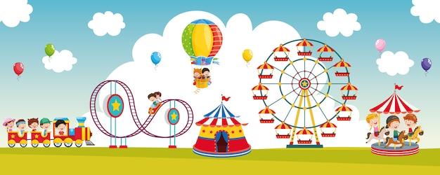 Illustrazione vettoriale del parco divertimenti Vettore Premium