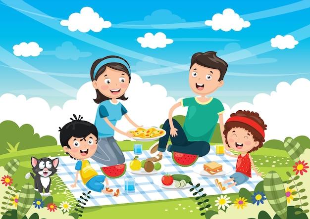 Illustrazione vettoriale del picnic in famiglia Vettore Premium