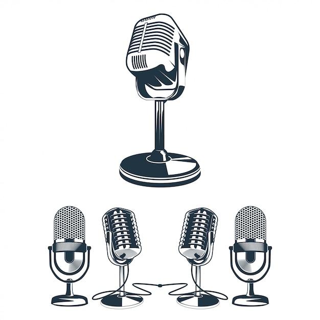 Illustrazione vettoriale del set di microfono retrò Vettore Premium