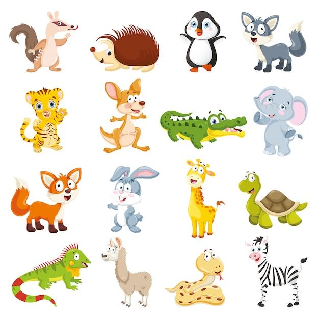 Illustrazione vettoriale della collezione di animali dei cartoni animati Vettore Premium