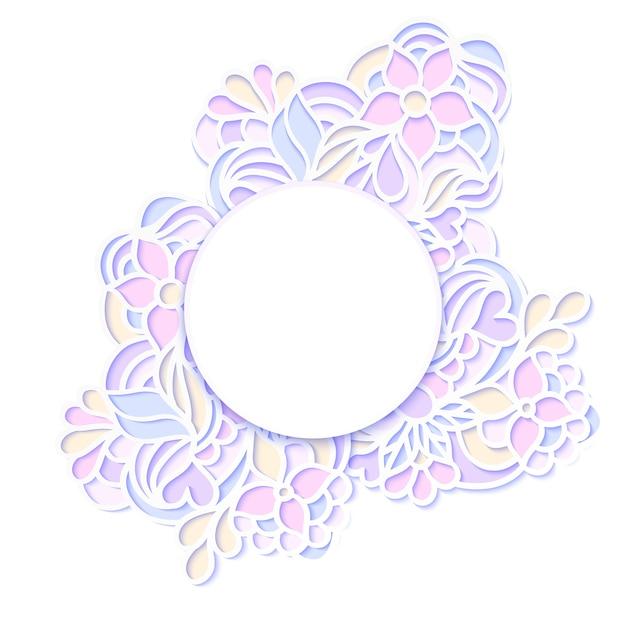 Illustrazione vettoriale della cornice floreale colorata Vettore Premium