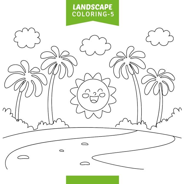 Illustrazione vettoriale della pagina di colorazione del paesaggio Vettore Premium