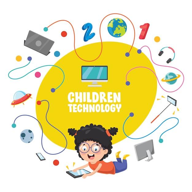Illustrazione vettoriale della tecnologia dei bambini Vettore Premium