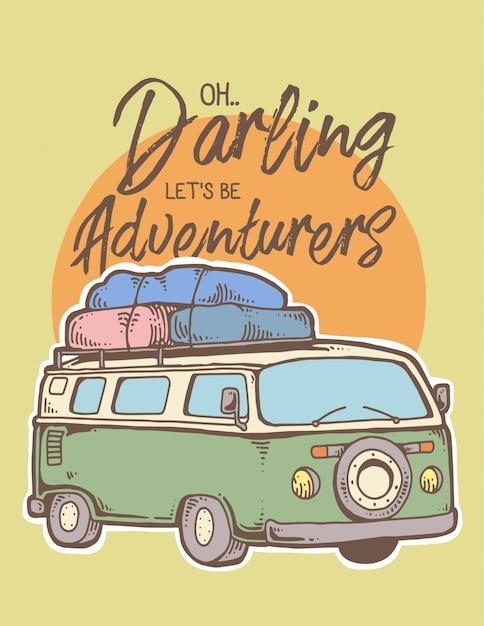 Illustrazione vettoriale di adventure car road trip Vettore Premium