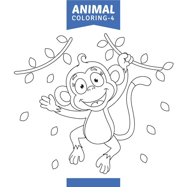 Illustrazione vettoriale di animali da colorare Vettore Premium