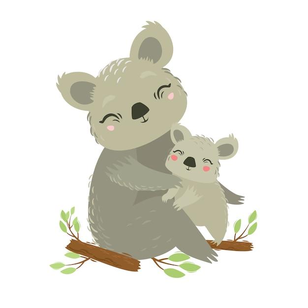 Illustrazione vettoriale di animali koala mamma e bambino. bel abbraccio. l'amore della madre. orso selvatico animale marsupiale Vettore Premium