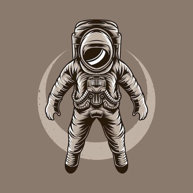 Illustrazione vettoriale di astronauta luna volante Vettore Premium