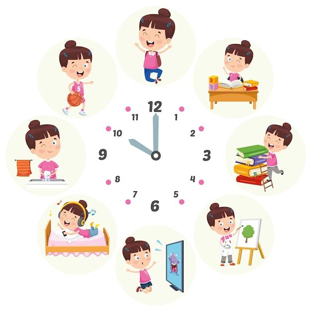 Illustrazione vettoriale di attività di routine quotidiana per bambini Vettore Premium