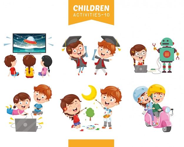 Illustrazione vettoriale di attività per bambini insieme Vettore Premium