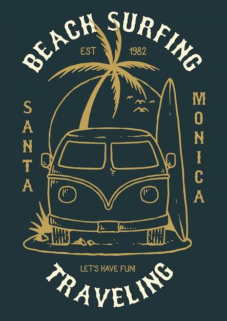 Illustrazione vettoriale di auto per le vacanze con surfboad Vettore Premium