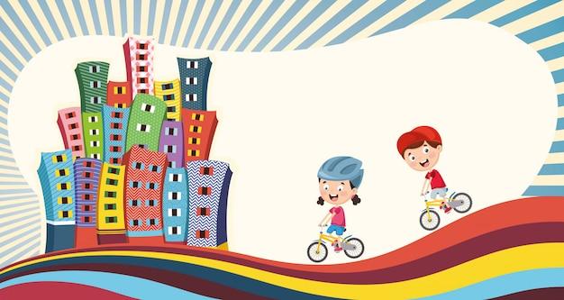 Illustrazione vettoriale di bambini che giocano in città Vettore Premium