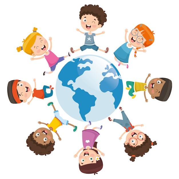 Illustrazione vettoriale di bambini che giocano intorno al mondo Vettore Premium