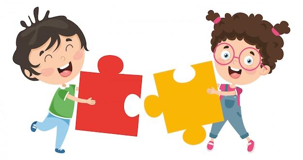 Illustrazione vettoriale di bambini che giocano puzzle Vettore Premium