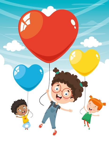 Illustrazione Vettoriale Di Bambini Che Volano Con Palloncini