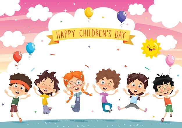 Illustrazione vettoriale di bambini dei cartoni animati Vettore Premium
