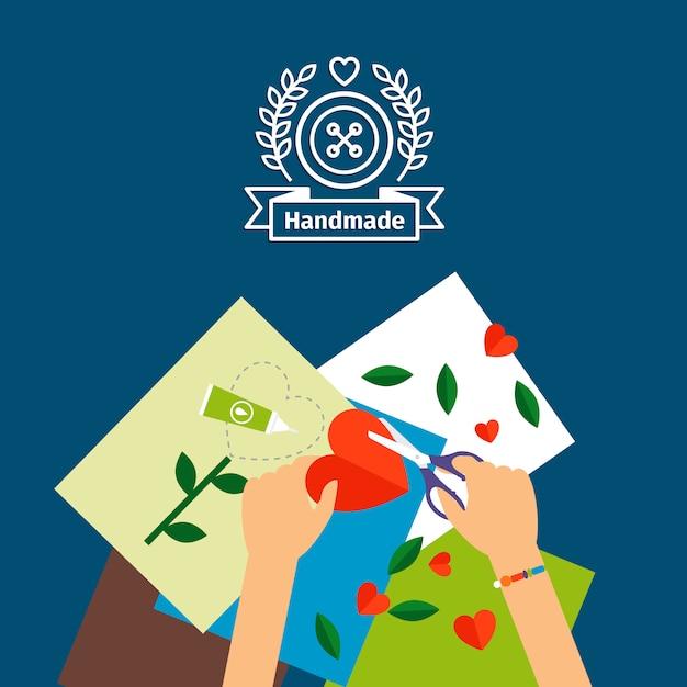 Illustrazione vettoriale di bambini fatti a mano Vettore Premium