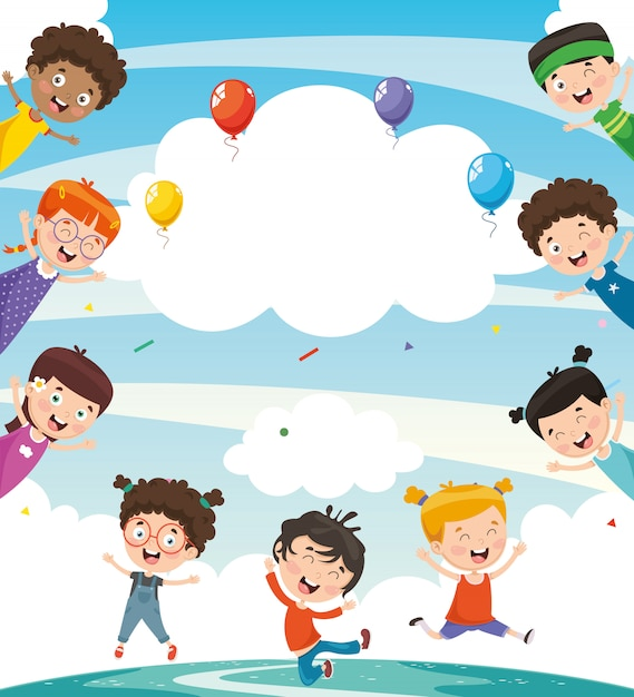 be83f6330c Illustrazione vettoriale di bambini felici | Scaricare vettori Premium