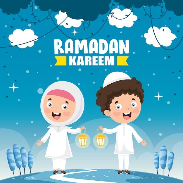Illustrazione vettoriale di bambini musulmani che celebra il ramadan Vettore Premium
