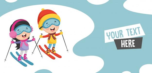 Illustrazione vettoriale di bambini sci Vettore Premium