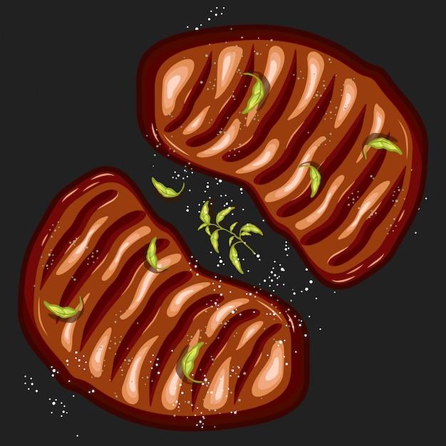 Illustrazione vettoriale di bistecca doppio Vettore Premium
