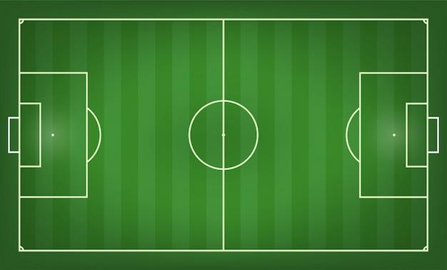 Illustrazione vettoriale di campo di calcio. vista dall'alto Vettore Premium