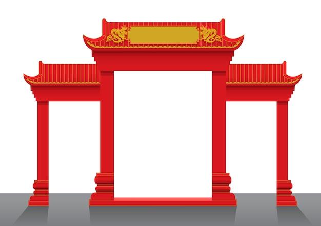 Illustrazione vettoriale di cancello cinese Vettore Premium